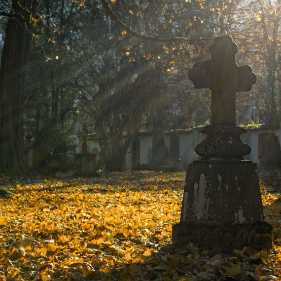 Bright light causing a headstone to cast a shadow