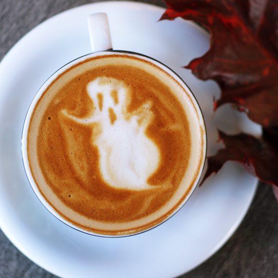 Latte art of a ghost
