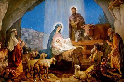 A painting of a nativity scene